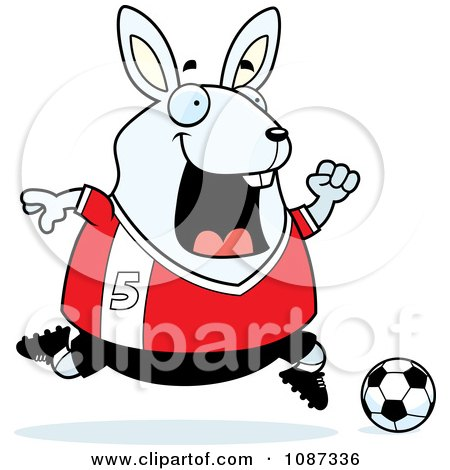 Clipart Chubby White Rabbit Playing Soccer - Royalty Free Vector Illustration by Cory Thoman