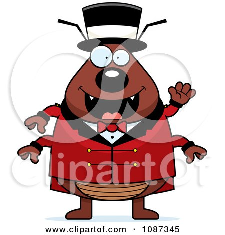 Clipart Circus Ring Master Flea Waving - Royalty Free Vector Illustration by Cory Thoman