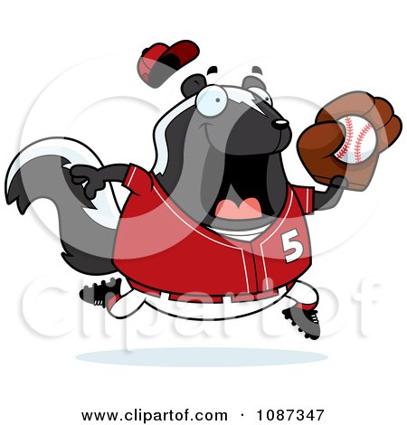 Clipart Chubby Skunk Playing Baseball - Royalty Free Vector Illustration by Cory Thoman