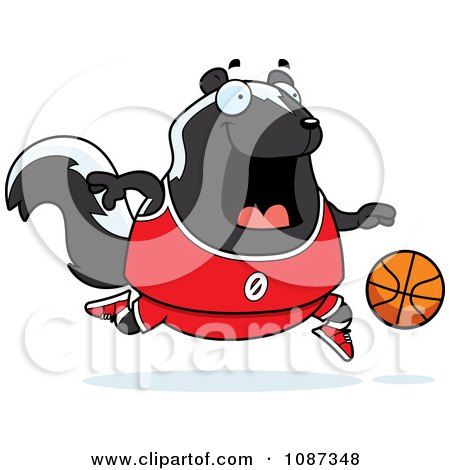 Clipart Chubby Skunk Playing Basketball - Royalty Free Vector Illustration by Cory Thoman