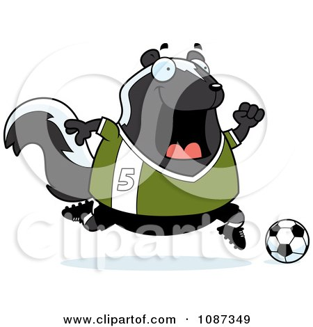 Clipart Chubby Skunk Playing Soccer - Royalty Free Vector Illustration by Cory Thoman