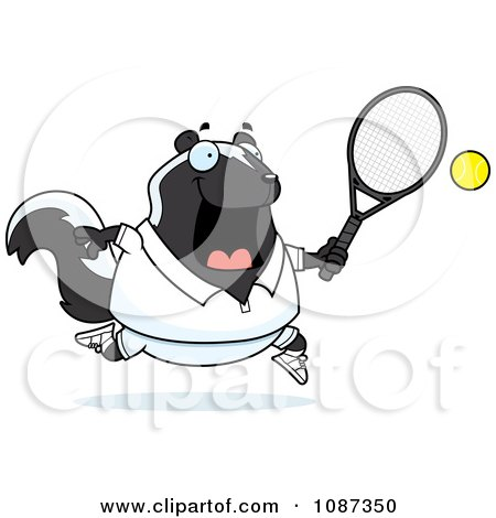 Clipart Chubby Skunk Playing Tennis - Royalty Free Vector Illustration by Cory Thoman