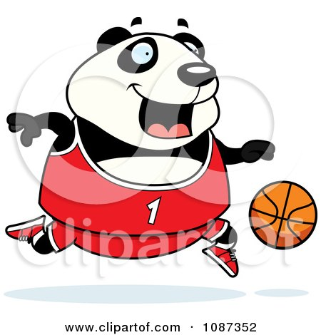 Clipart Chubby Panda Playing Basketball - Royalty Free Vector Illustration by Cory Thoman