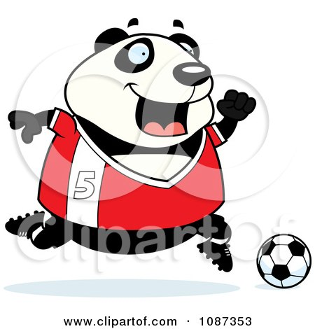 Clipart Chubby Panda Playing Soccer - Royalty Free Vector Illustration by Cory Thoman
