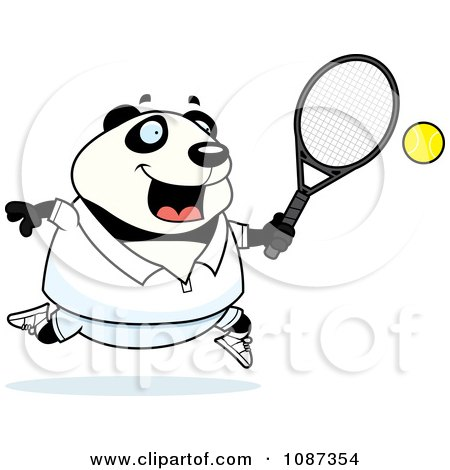 Clipart Chubby Panda Playing Tennis - Royalty Free Vector Illustration by Cory Thoman