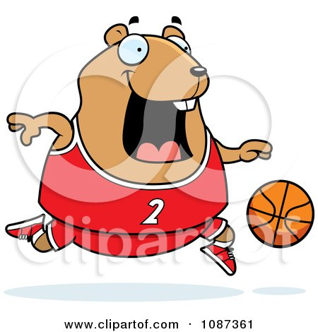 Clipart Chubby Hamster Playing Basketball - Royalty Free Vector Illustration by Cory Thoman