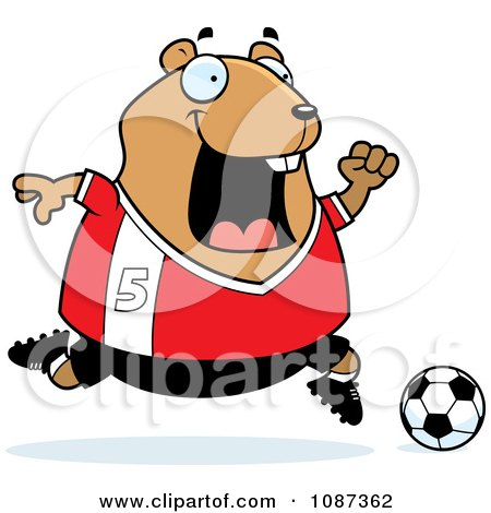 Clipart Chubby Hamster Playing Soccer - Royalty Free Vector Illustration by Cory Thoman
