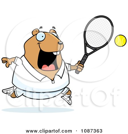 Clipart Chubby Hamster Playing Tennis - Royalty Free Vector Illustration by Cory Thoman