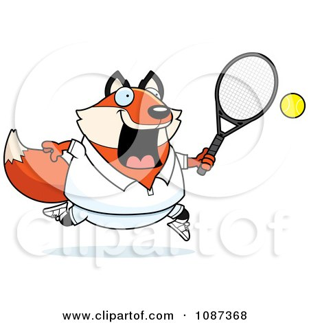 Clipart Chubby Fox Playing Tennis Royalty Free Vector Illustration
