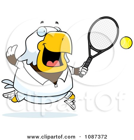 Clipart Chubby Bald Eagle Playing Tennis - Royalty Free Vector Illustration by Cory Thoman