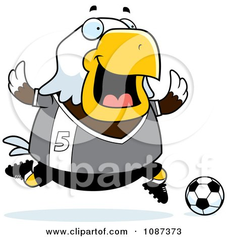Clipart Chubby Bald Eagle Playing Soccer - Royalty Free Vector Illustration by Cory Thoman