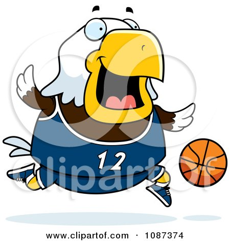 Clipart Chubby Bald Eagle Playing Basketball - Royalty Free Vector Illustration by Cory Thoman