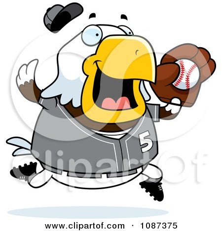 Clipart Chubby Bald Eagle Playing Baseball Royalty Free Vector Illustration