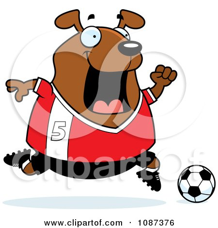 Clipart Chubby Dog Playing Soccer - Royalty Free Vector Illustration by Cory Thoman