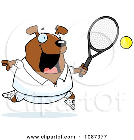 Clipart Chubby Dog Playing Tennis - Royalty Free Vector Illustration by Cory Thoman