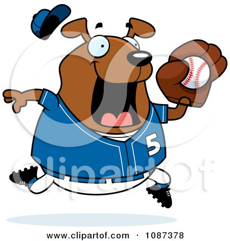 Clipart Chubby Dog Playing Baseball - Royalty Free Vector Illustration by Cory Thoman
