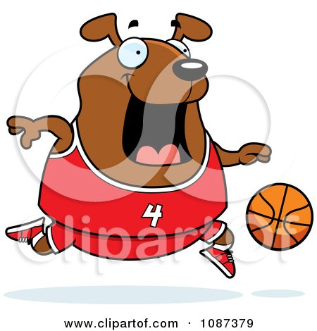 Clipart Chubby Dog Playing Basketball - Royalty Free Vector Illustration by Cory Thoman