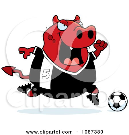 Clipart Chubby Devil Playing Soccer - Royalty Free Vector Illustration by Cory Thoman