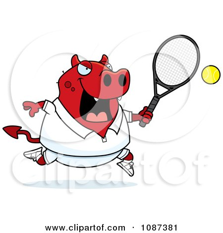 Clipart Chubby Devil Playing Tennis - Royalty Free Vector Illustration by Cory Thoman