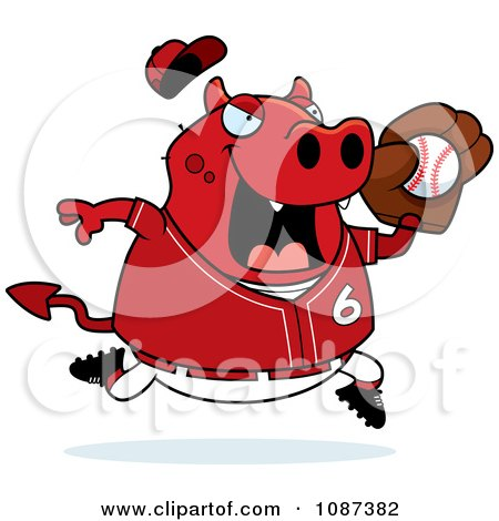 Clipart Chubby Devil Playing Baseball - Royalty Free Vector Illustration by Cory Thoman