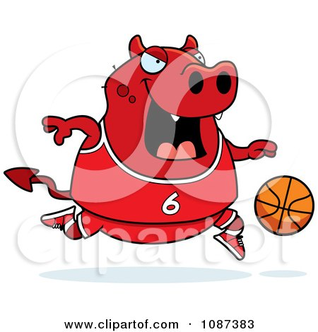 Clipart Chubby Devil Playing Basketball - Royalty Free Vector Illustration by Cory Thoman