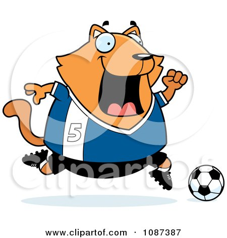 Clipart Chubby Orange Cat Playing Soccer - Royalty Free Vector Illustration by Cory Thoman