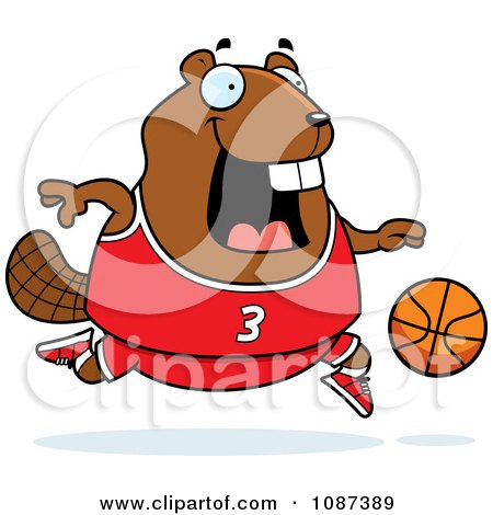 Clipart Chubby Badger Playing Basketball - Royalty Free Vector Illustration by Cory Thoman