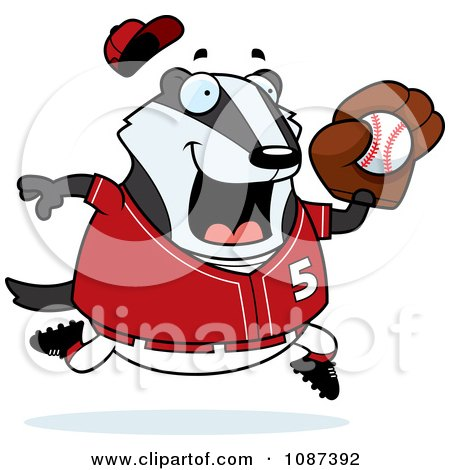 Clipart Chubby Badger Playing Baseball - Royalty Free Vector Illustration by Cory Thoman