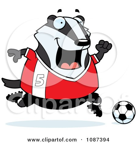 Clipart Chubby Badger Playing Soccer - Royalty Free Vector Illustration by Cory Thoman