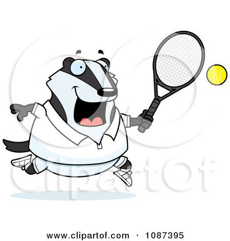 Clipart Chubby Badger Playing Tennis - Royalty Free Vector Illustration by Cory Thoman