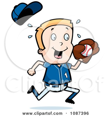 Clipart Blond Baseball Boy Catching A Ball Royalty Free Vector Illustration