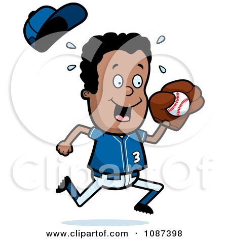Clipart Black Baseball Boy Catching A Ball - Royalty Free Vector Illustration by Cory Thoman