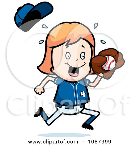 Clipart Blond Baseball Girl Catching A Ball - Royalty Free Vector Illustration by Cory Thoman