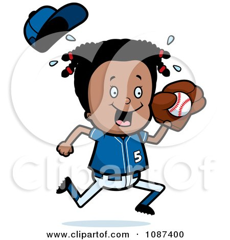 Clipart Black Baseball Girl Catching A Ball - Royalty Free Vector Illustration by Cory Thoman