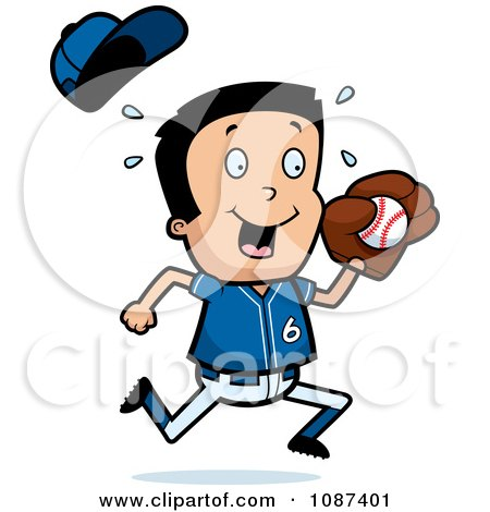 Clipart Little League Baseball Boy Catching A Ball - Royalty Free Vector Illustration by Cory Thoman