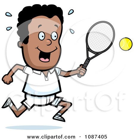 Clipart Black Tennis Boy Swinging His Racket At The Ball - Royalty Free Vector Illustration by Cory Thoman