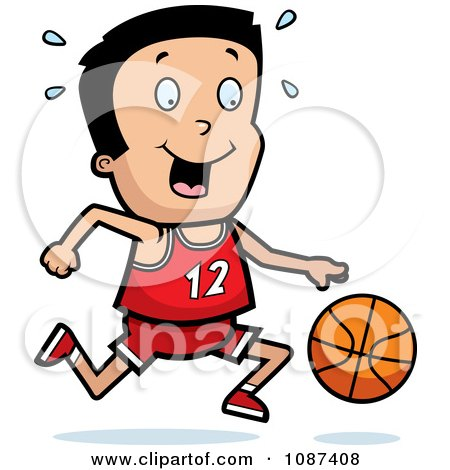 Clipart Athletic Boy Dribbling A Basketball - Royalty Free Vector Illustration by Cory Thoman