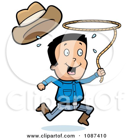 Clipart Cowboy Losing His Hat And Running With A Lasso Lariat - Royalty Free Vector Illustration by Cory Thoman