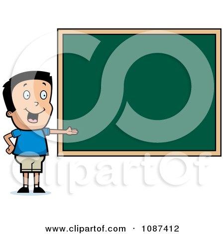 Clipart Smart School Boy Presenting A Chalk Board - Royalty Free Vector Illustration by Cory Thoman