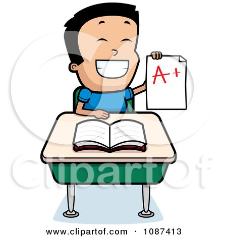 Clipart Smart School Boy Sitting At A Desk With An A Plus Report Card - Royalty Free Vector Illustration by Cory Thoman