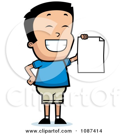 Clipart Smart School Boy Presenting His Report Card - Royalty Free Vector Illustration by Cory Thoman