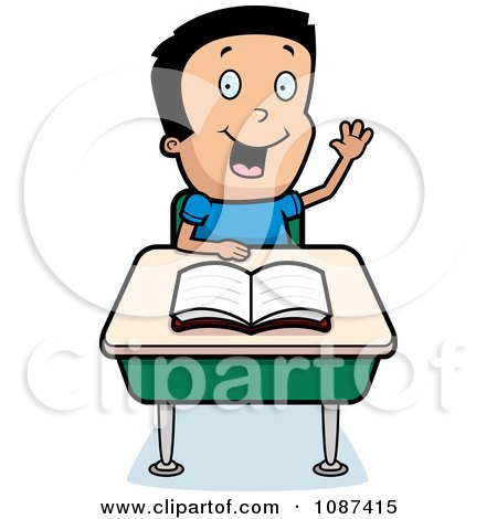 Clipart Smart School Boy Raising His Hand At A Desk - Royalty Free Vector Illustration by Cory Thoman