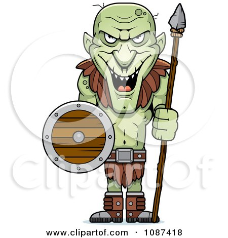 Clipart Tall Goblin Guard With A Spear And Shield - Royalty Free Vector Illustration by Cory Thoman