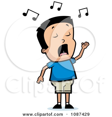 Clipart Talented Boy Singing - Royalty Free Vector Illustration by Cory Thoman