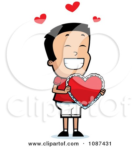 Clipart Romantic Boy Holding A Valentine Heart - Royalty Free Vector Illustration by Cory Thoman