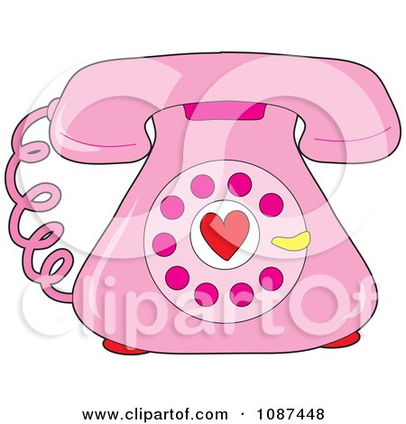 Clipart Pink Rotary Telephone With A Heart - Royalty Free Vector Illustration by Maria Bell
