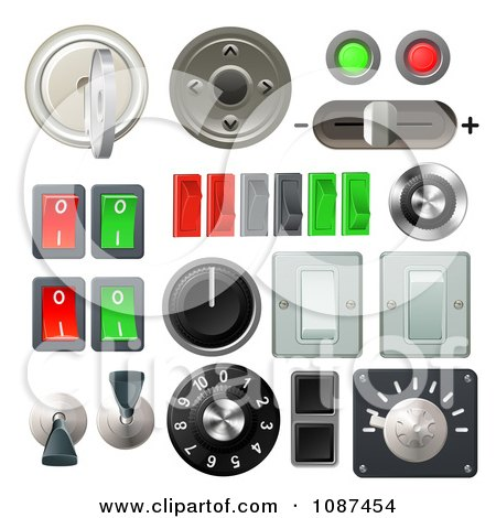 Clipart 3d Knob Switches And Dials With Buttons And Keys - Royalty Free Vector Illustration by AtStockIllustration