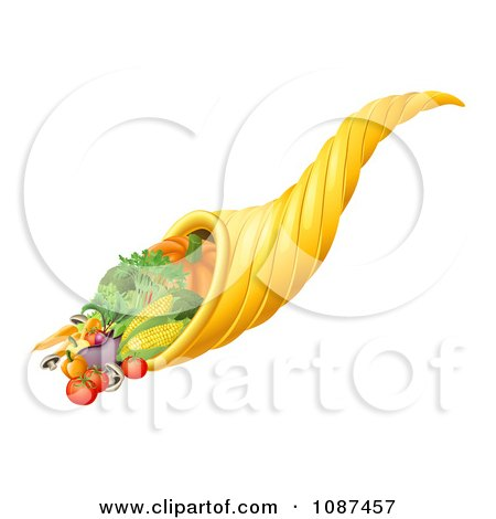 Clipart 3d Cornucopia Horn With Harvest Produce - Royalty Free Vector Illustration by AtStockIllustration