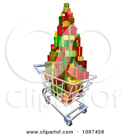 Clipart 3d Shopping Cart With A Pile Of Wrapped Christmas Presents - Royalty Free Vector Illustration by AtStockIllustration