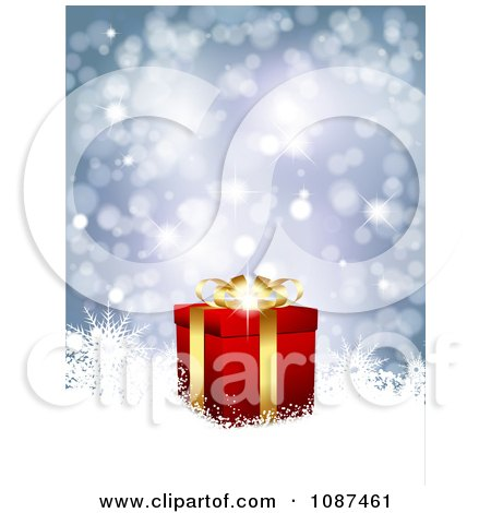Clipart Blue Sparkly Christmas Background With A 3d Gold And Red Gift Box And Snowflakes - Royalty Free Vector Illustration by KJ Pargeter